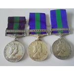 Lot of 3 General Service Medal 1918-62, Eliz II, clasp Cyprus named to a) 23452266 Private B. Por...