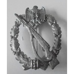 Germany. Third Reich. Infantry Assault Badge in Silver, late war example, no makers mark, needle ...