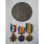 A Mons Trio and Plaque to Gunner F. Newcomb, Royal Field Artillery, who died of wounds on 15th&nb...