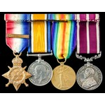 Great War Western Front 1914 Old Contemptible and Army Meritorious Service Medal group awarded to...