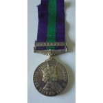 General Service Medal 1918-62, Eliz II, clasp Cyprus named to 23334876 Private A. Toner, King's O...