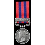 India General Service Medal 1854, one clasp: Northwest Frontier, awarded to Private Thomas Thayer...