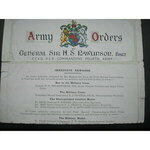 ORIGINAL colour Army Orders General Sir H.S. Rawlinson, Bart. TOP HALF of original certificate on...