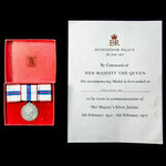 Jubilee Medal 1977, mounted on ladies issue bow ribbon, housed in ladies issue box of issue, and ...