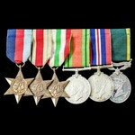 A Second World War Middle East and Italy campaign Territorial long service group awarded to Capta...