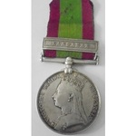 Afghanistan Medal 1878, clasp Kandahar named to 58B/135 Private A. Forbes, 72nd Highlanders. With...