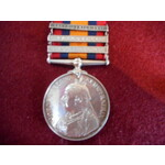 Queens South Africa Medal, three clasps, Orange Free State, Transvaal and South Africa 1901 named...