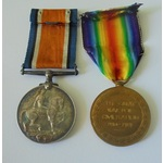 Corporal C.F.D. Colls, Royal Artillery. British War Medal and Victory Medal both named to 891454 ...