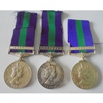 Lot of 3 General Service Medal 1918-62, Eliz II, clasp Cyprus named to a) 23444263 Private M. Cor...