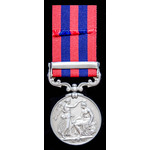 India General Service Medal 1854, one clasp: Burma 1885-7; (534 PTE: G. WOOLLEY 2ND: 2ND: BN. SOM...