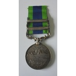 India General Service Medal 1908, Geo V, two clasps, Mahsud 1919-20 and Waziristan 1919-21 named ...