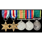 Second World War North West Europe and Territorial long service group awarded to Private W.H. Tur...
