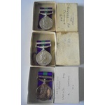 Lot of 3 boxed General Service Medal 1918-62, Eliz II, clasp Cyprus named to a) 23169198 Private ...