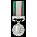 India General Service Medal 1936, one clasp: North West Frontier 1936-37; (9292 HAV FAZAL HUSSAIN...