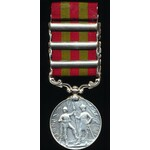 India General Service Medal 1895. VR, in silver, three clasps, Punjab Frontier 1897-98, Samana 18...