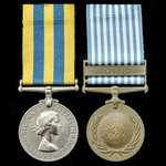 A Korea Medal pair awarded to Private A.G. Ormrod, King's Regiment.