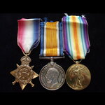 1914 Trio to L-13632 PTE Arthur Edward PELL 2nd MIDDLESEX REGT. Served in France from 7/11/14 unt...