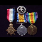 1914/15 TRIO & his correctly numbered SILVER WAR BADGE to 2nd LIEUT Keith McLEOD 1/7th LANCASHIRE...