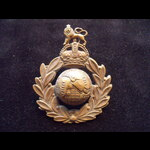 Original ROYAL MARINES Brass Cap Badge with King's Crown on 2 lugs