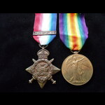 1914 STAR & VICTORY MEDAL to 7771 PTE Thomas STAGG 1st WILTSHIRE REGT. To France 31/8/14 & qualif...