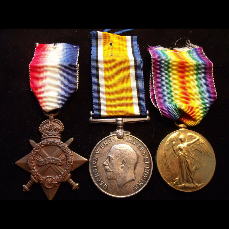 1914/15 TRIO to PTE Lawrence .   Great War Medals