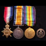 1914/15 TRIO & Correctly Numbered SILVER WAR BADGE to 3693 PTE Robert John PRESTON 21st LONDON RE...
