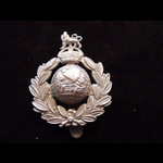 Original ROYAL MARINES Chrome-plated Brass Cap Badge with King's Crown on Slider