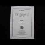 SDGW Part 63: The Highland Light Infantry - over 100 pages - Post Free in the UK