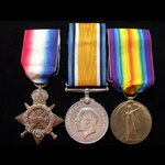 1914/15 TRIO with BI-LINGUAL VICTORY MEDAL to PTE J. BLAIR 2nd IMPERIAL LIGHT HORSE. This irregul...
