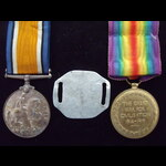 BWM & VICTORY MEDAL with Private Aluminium I.D. TAG to 122160 A.BMBR Thomas READER, ROYAL FIELD A...