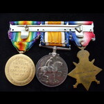 1914 TRIO with Clasp, DEFENCE.   Great War Medals