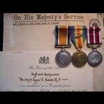 BWM, VICTORY MEDAL with small MID Oakleaf & GvR MERITORIOUS SERVICE MEDAL, plus Original MID CERT...