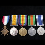 1914/15 TRIO, DEFENCE MEDAL & GviR POLICE LS&GC MEDAL to PTE/CPL ALLEN 6th E.KENT REGT later a PO...