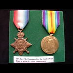 1914 STAR & VICTORY MEDAL to 907 PTE Frank Lovell THOMPSON 9th LONDON REGT 'Queen Victoria's Rifl...