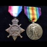 1914/15 STAR & VICTORY MEDAL to 2199 PTE William Henry CHAMBERLAIN,  NOTTINGHAMSHIRE (SHERWOOD RA...