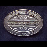 SCARCE 1919 AUSTRALIAN 'INFLUENZA EMERGENCY WORKER' LAPEL BADGE