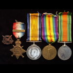 1914 TRIO with slide-on 'AUG-NOV 1914' Bar & DEFENCE MEDAL plus numbered 'OLD CONTEMPTIBLES ASSOC...