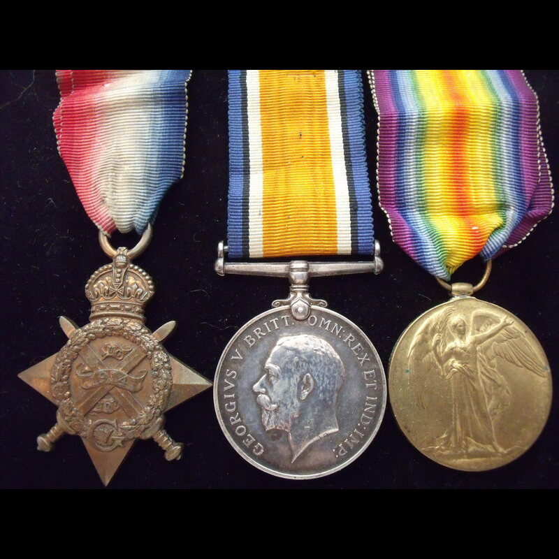 1914 TRIO to 7672 PTE John FO.   Great War Medals