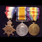 1914 TRIO to 8946 PTE Frederick George HUGHES 1st SOMERSET LIGHT INFANTRY. To France 21/8/14 & qu...