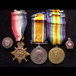 1914/15 TRIO & 2 Officially Numbered LAPEL BADGES to 69892 PTE Charles A. STEVENS 26th CAN.INF. S...