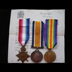 1914/15 TRIO to 21653 PTE Hugh JONES 11th SOUTH WALES BORDERERS - Born Llangollen, Denbigh. KIA 2...