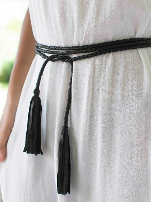 Twisted Black Leather Tassel . | EmAsia Designs