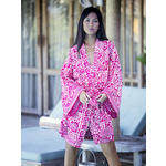 Fuchsia & White Flower Batik Kimono - also available in Long .....