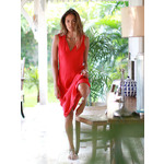 Palm Dress in coral