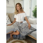 Lucy Maxi Skirt in Charcoal & White