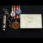 Special Constabulary LS Marshall Davies Gorseinon with whistle, badges & newspaper cuttings