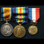 WW1 Pair (mid) and French Medaillie du Honneur in Bronze Sjt Martin 24th Base Park Coy Royal Engi...